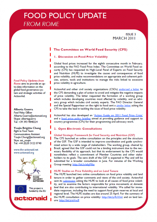 Food Policy Update from Rome - Issue 3, Mar 2011 | ActionAid