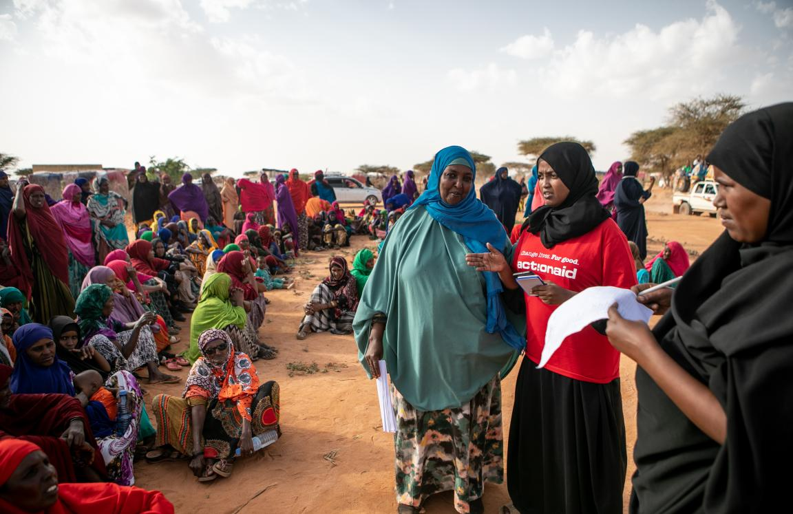 Hibo, an Action Aid staff member, helps coordinate and facilitate the distribution of dignity kits to women in an IDP camp in Somaliland.