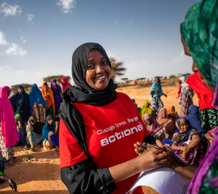 Hibo (Action Aid staff member) helps coordinate and faciliate the distribution of dignity kits to women in an IDP camp in Somaliland.