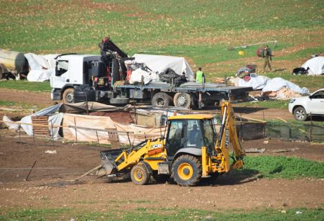 Yellow tractor destroys the village of Humsa in occupied Jordan Valley