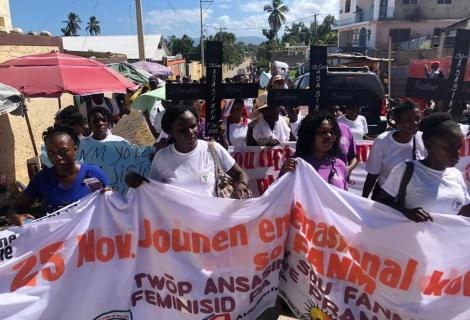 Women protest rising violence and political corruption in Haiti