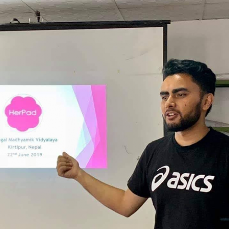 In 2018, Tirtha formed a group named HerPad that provides training on reusable hygiene pads.