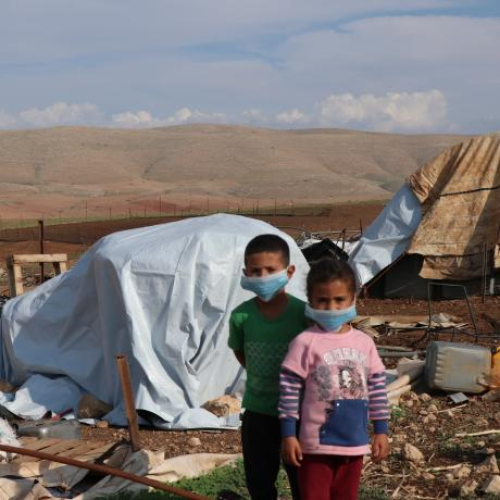 Children in the village of Humsa in the Jordan Valleys after it was demolished by Israeli forces on 3rd of November 2020