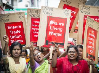Women from the Rights Café in Bangladesh demanding labour rights