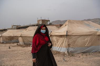 Maliha Malikpour stands in Shaiday refugee camp near Herat, which is home to 42,000 families.