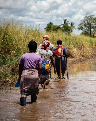 The all-women farmers association, Vamos Prouzir, walks through flooding to assess the damage done to their farmland in Buzi, Mozambique.